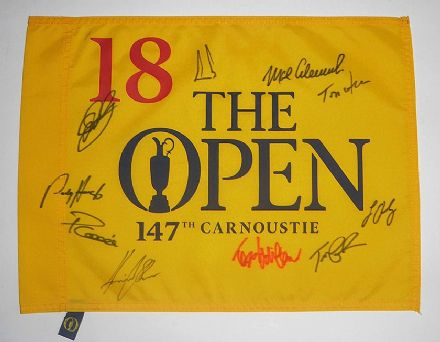 Open Championship 2018 Carnoustie pin flag signed by 10 Open Champions.